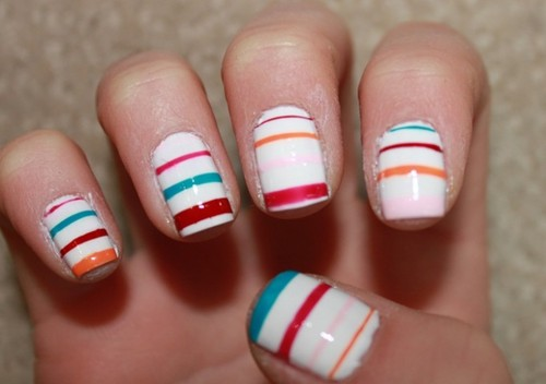 Try white nailpolish with bright colorful stripes!