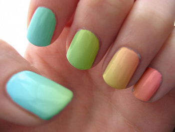 Multi-color nails are a breeze to do - just pick your favorite pastels!
