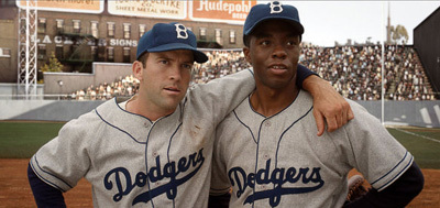 Chad as Jackie with Lucas Black as Pee Wee Reese
