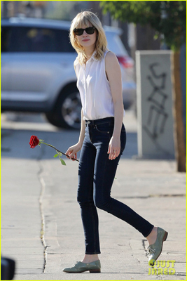 Emma Stone in pale brogues