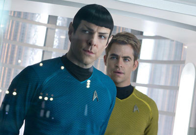 Zac Quinto as Spock with Chris Pine as Kirk