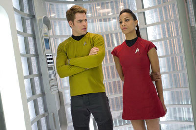 Chris Pine as Kirk with Zoe Saldana as Uhura