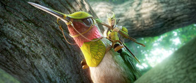 Ronin (Colin Farrell) rides his hummingbird