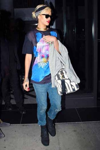 Rihanna has a penchant for loud, graphic tees.