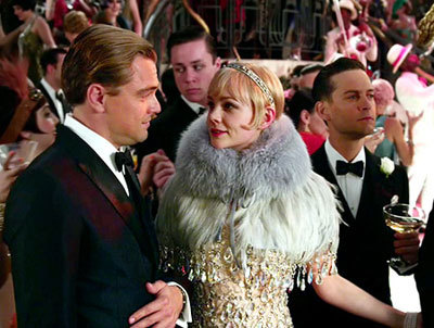 Gatsby, Daisy and Nick at the big party