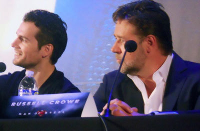Henry Cavill (Clark Kent/Kal-El) and Russell Crowe (Jor-El, his father) at our interview