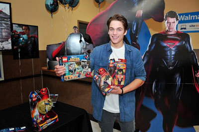 Dylan checks out Man of Steel toys