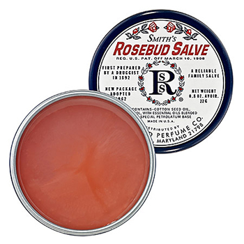 Smith's Rosebud Salve is full of good-for-you rose oil and smells like summer roses too! This is a classic. $6