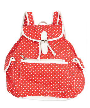 Delia's heart print backpack, $29