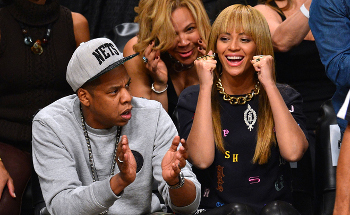 Jay-Z and Beyoncé in the stands