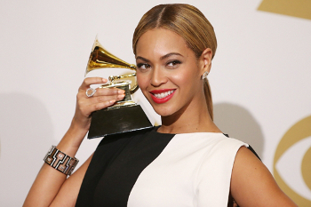 Beyoncé with her Grammy