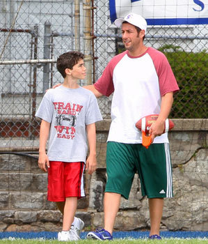 Cameron as Keithie and Adam Sandler as his dad