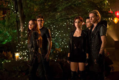 Lily as Clary in the thigh high boots