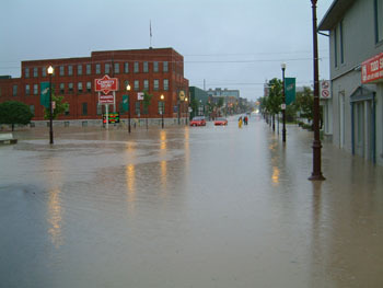 A town's flooded streets