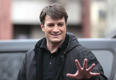 Nathan Fillion (Hermes) on set