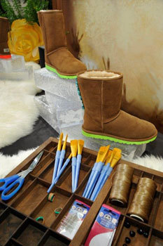Paint and sample decorated boots