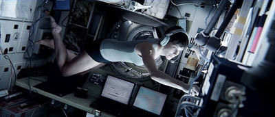 Sandra floating in zero G