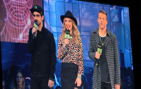 Liz Trinnear with Mackelmore and Ryan Lewis Grammy Award winning Hip Hop Artists