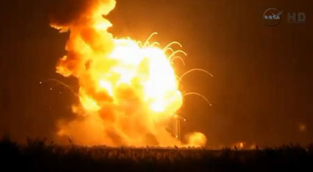 A rocket heading to the International Space Station explodes right after launch