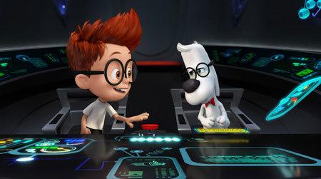 Sherman and Mr. Peabody in the WABAC machine