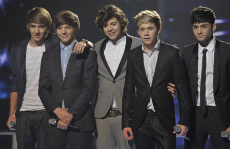 One Direction on stage at X-Factor
