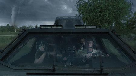 Jacob (Jeremy) shooting inside the Titus vehicle