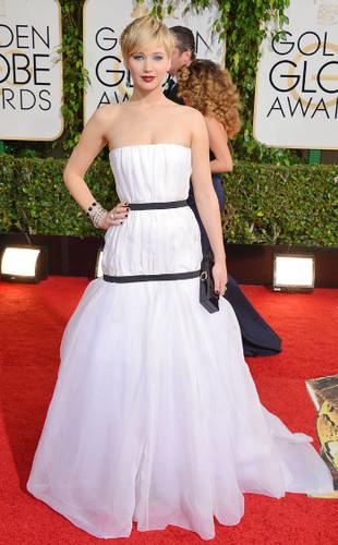 Jennifer Lawrence on the Golden Globes red carpet