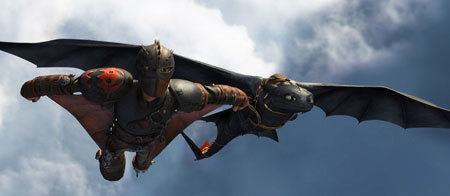 Hiccup gives his new flying suit a test run