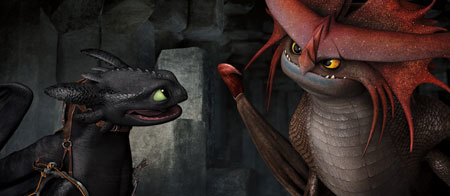 Toothless makes friends with Valka's cool dragon