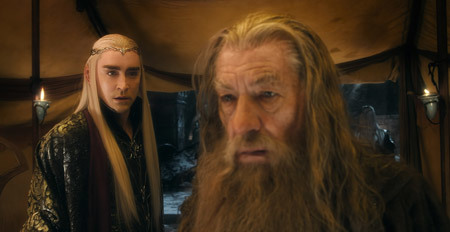 Thranduil (Lee Pace) strategizes with Gandalf