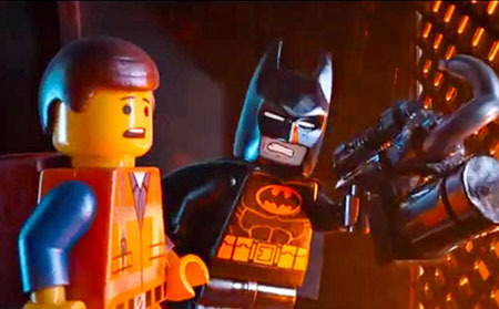 Batman in action with Emmet