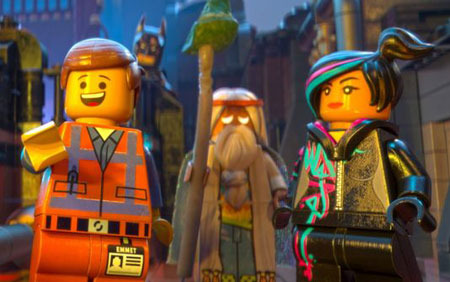 Emmet, WyldStyle and Vitruvius with Batman in the background
