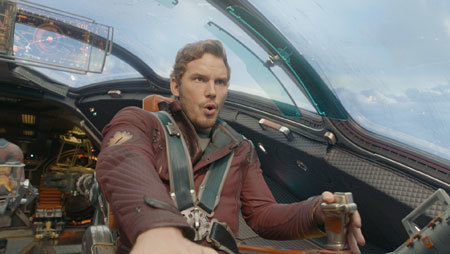 Quill at the controls of his ship