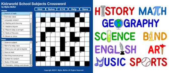 School Subjects Crossword Puzzle