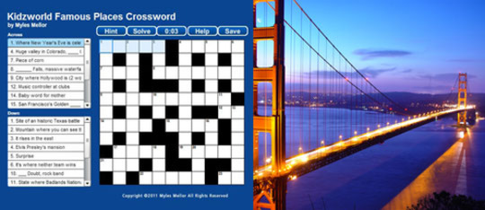 Famous Places Crossword Puzzle