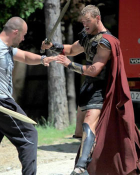 Kellan on set working on sword skills