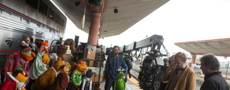 Muppets and filmmakers on set at Union Station in L.A.