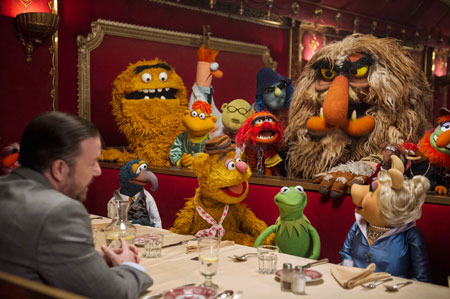 Ricky Gervais with Muppets