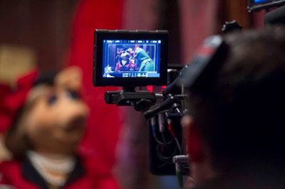 Miss Piggy and Kermit as seen by filmmakers on set