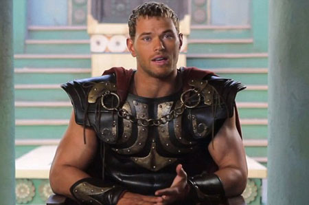 Kellan Lutz on set waiting for action