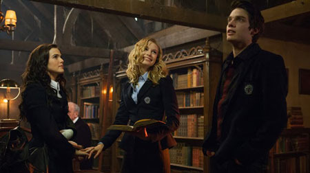 Christian (Dominic) in the library with Rose and Lissa