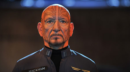 Major Rackham (Sir Ben Kingsley) and his tattoos