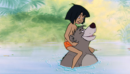Mowgli on Baloo's shoulders