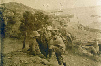 Soldiers at the battle at Gallipoli