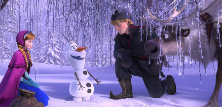 Anna, Kristoff and Sven meeting Olaf