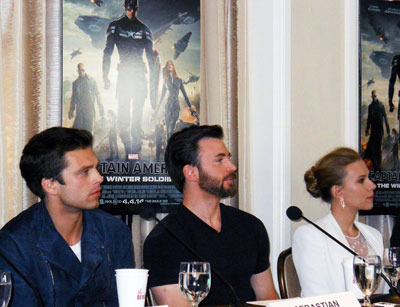 Sebastian Stan, Chris Evans  and Scarlett Johansson at the interview