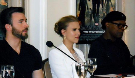 Chris Evans, Scarlett Johansson and Samuel L. Jackson at the interview