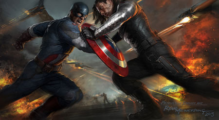Captain America (Chris Evans) fights Winter Soldier (Sebastian Stan)