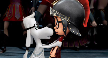 Mr. Peabody (Ty Burell) tries to rescue Sherman (Max) from the Trojan War