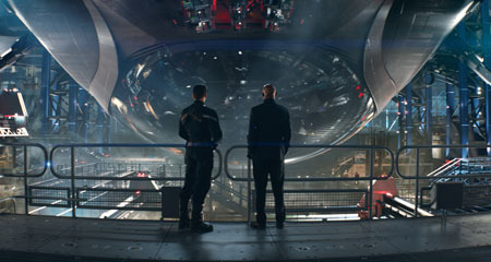 Nick Fury (Samuel L. Jackson) shows Captain America the new Helicarriers